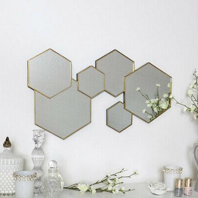 Oro Esagonale Specchio Da Parete Decorativo Moderno Arte